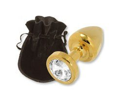 BUTTPLUG GOLD 24C W CRYSTAL 25MM - Anal -