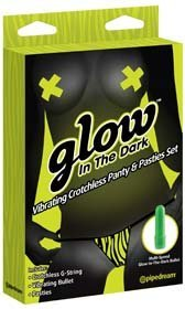 Glow In The Dark Vibrating Crotchless Panty and Pasties Set - Stimulatoare clitoridiene -
