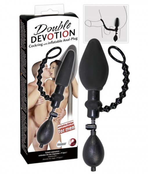 Inel penis cu Dop Anal gonflabil – Dop Anal –