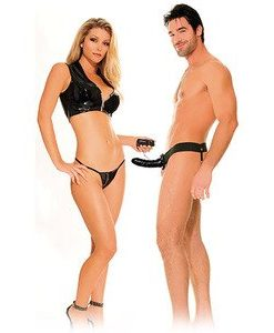VIBRATING HOLLOW STRAP ON FOR HIM OR HER BLACK